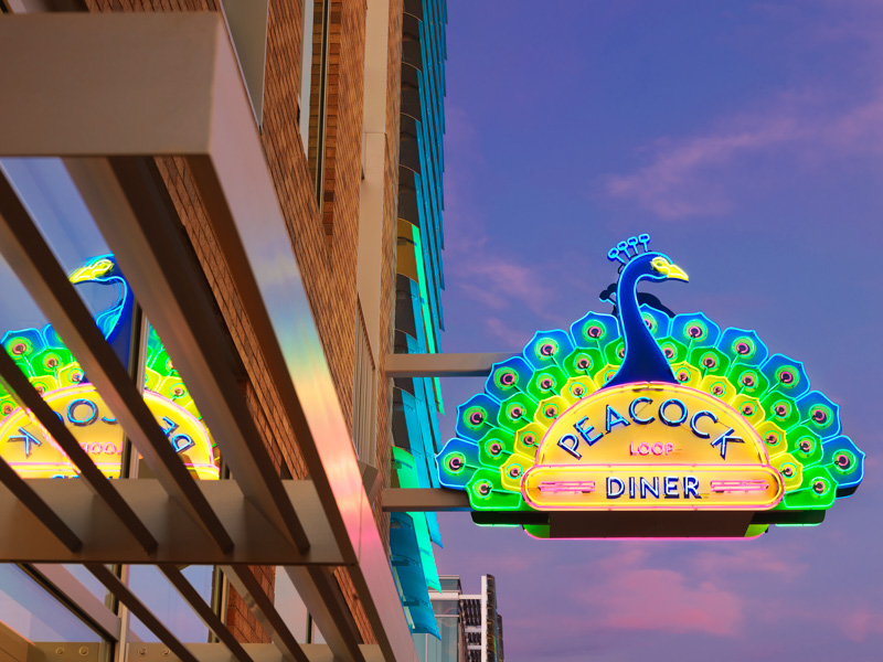 peacock diner sign